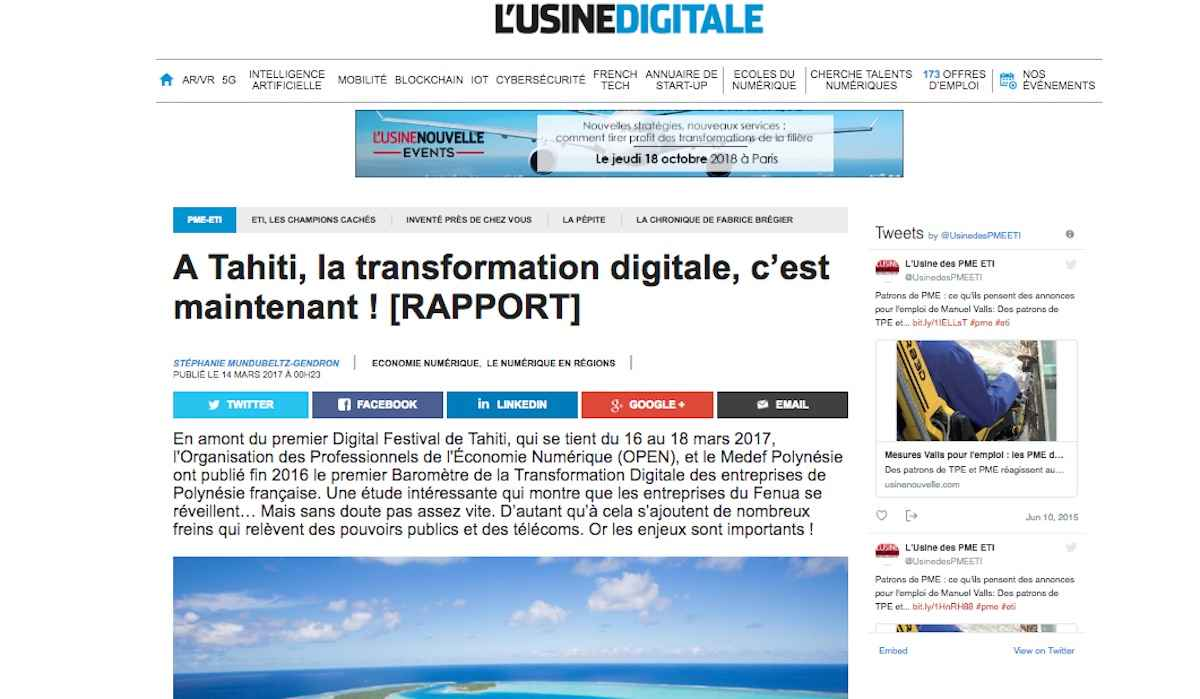 Partenaire média national du Digital Festival Tahiti : L'Usine Digitale